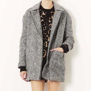 Topshop Tweed Ovoid Zipper Moto Wool Coat Sz 6